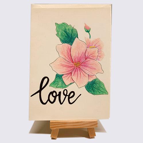 Karte – love, rosa Blumen