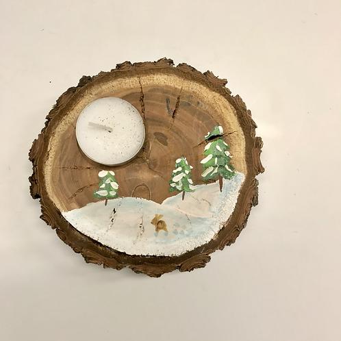 Teelichthalter aus Holz Hase im Wald
