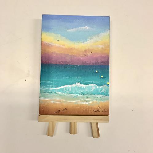 Minigemälde - Am Strand von Jesolo