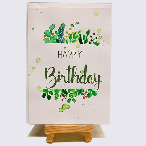 Karte – Happy Birthday, grün