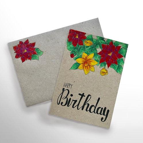 Karte «Happy Birthday – Blumen»