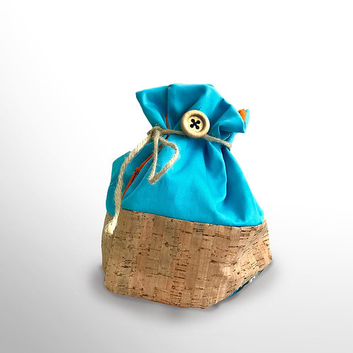 Stoffbeutel «hellblau mit Kork» (klein)