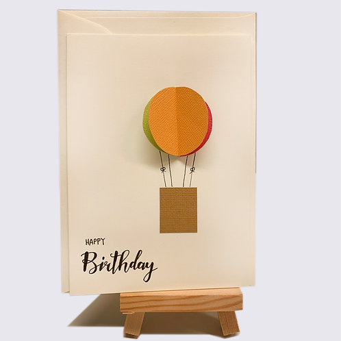 Karte – Happy Birthday, runder Ballon