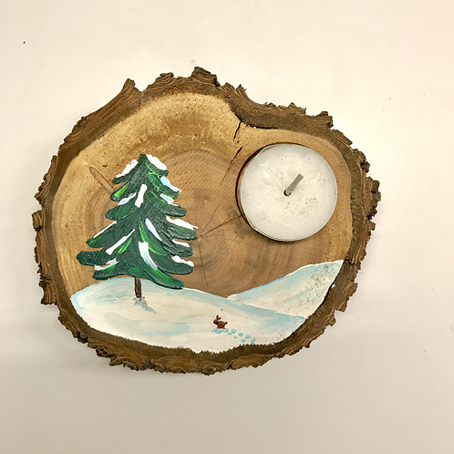 Teelichthalter aus Holz Hase und Tanne