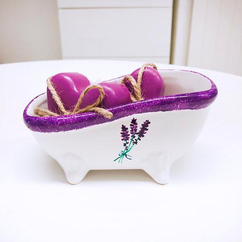 Seifenschale Badewanne Lavendel - handbemalen