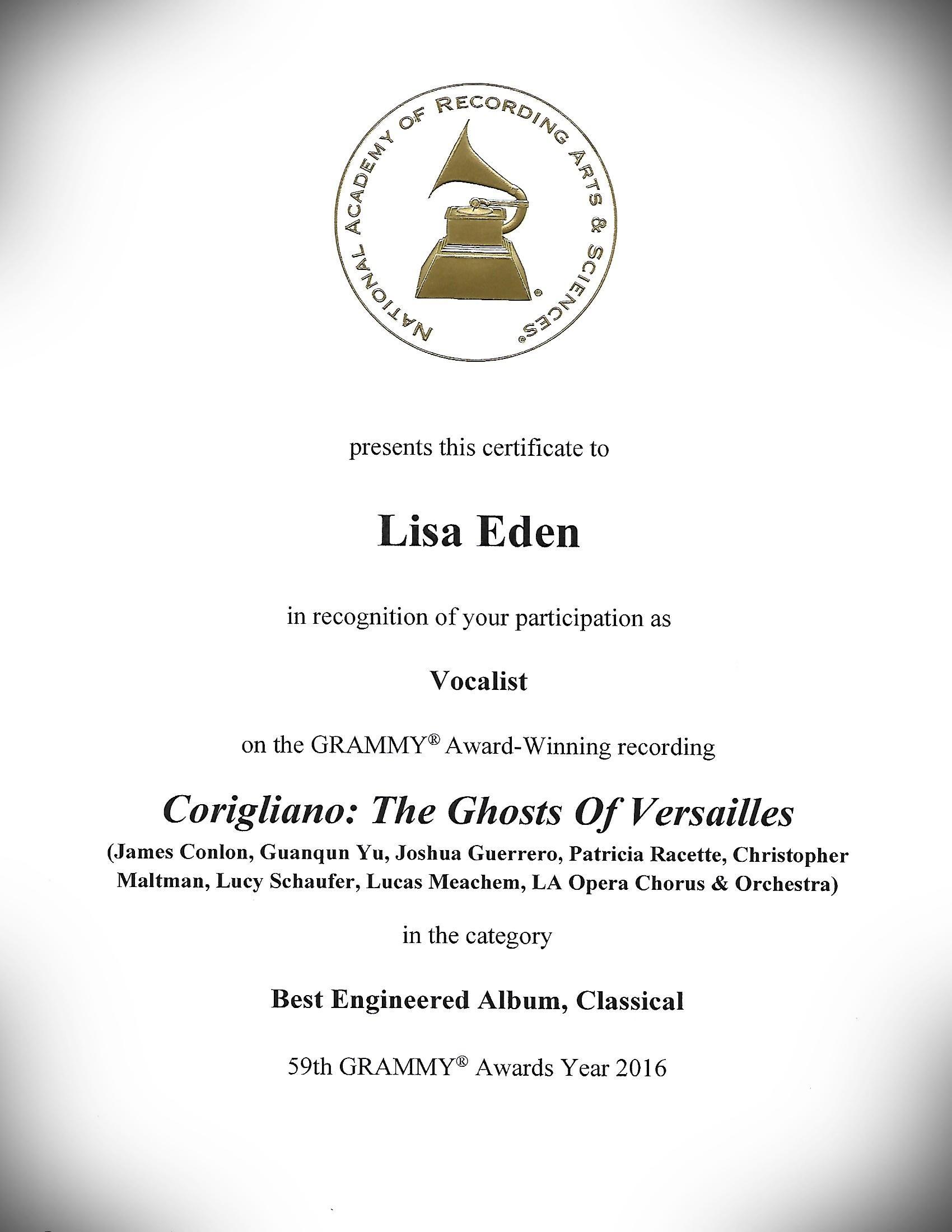 Grammy Award Certificate - Best Engineer