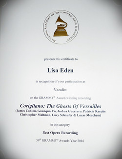 Grammy Award Certificate