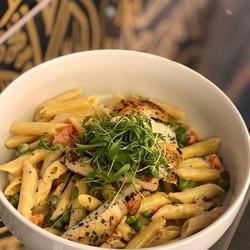 Seared chicken over creamy penne pasta,