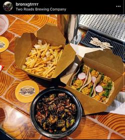 Shrimp taco, figlar fries, crispy Brusse