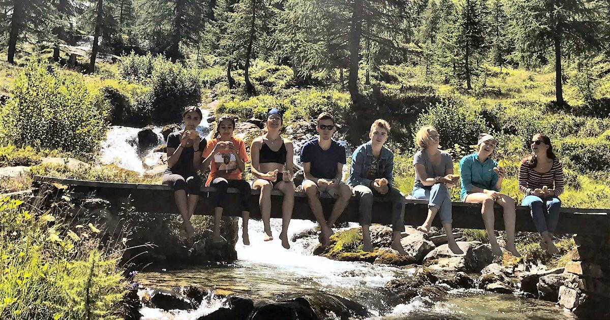 group on waterfall