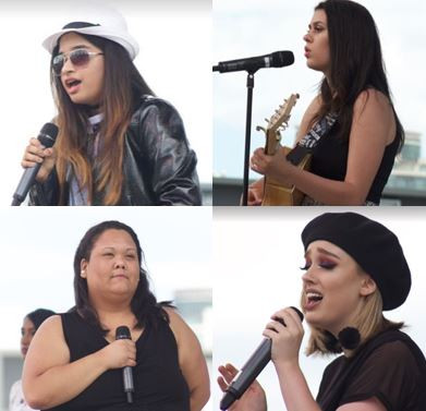 Singfest 2017 Winners Runner Up Ages 13-18: Cmagic5 (Top-Left), Winner Ages 13-18: Miranda (Top-Right) Runner Up Ages 19-26: Nicole (Botom-Left), Winner Ages 19-26: Kendra (Bottom-Right)