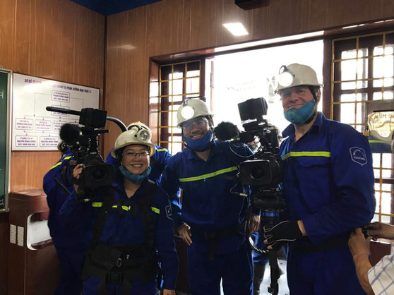 Filming in Vietnam with Arcos Films crew at Mao Khe coal mine