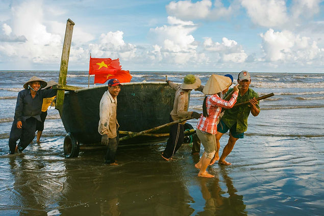 Smiles of Vietnamese fishermen