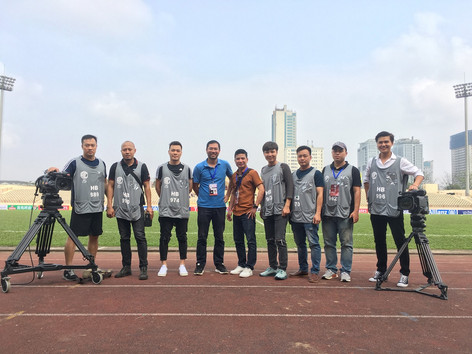 Filming in Vietnam team at Hang Day stadium before a live production of AFC Cup