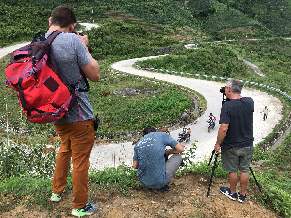 Vietnam fixer with Eagle Creek production team in Sapa