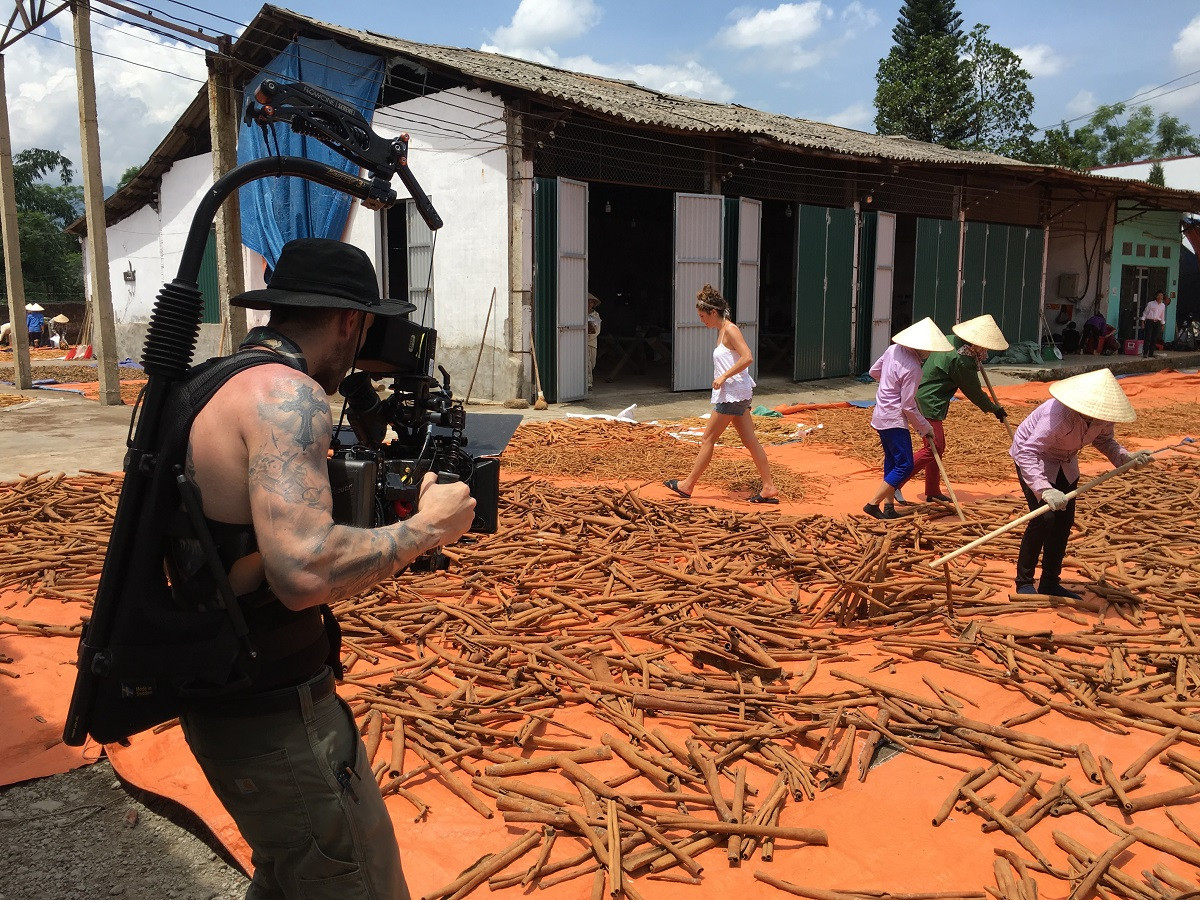 Filming in Vietnam with film crew from Laundry Service at a cinnamon farm