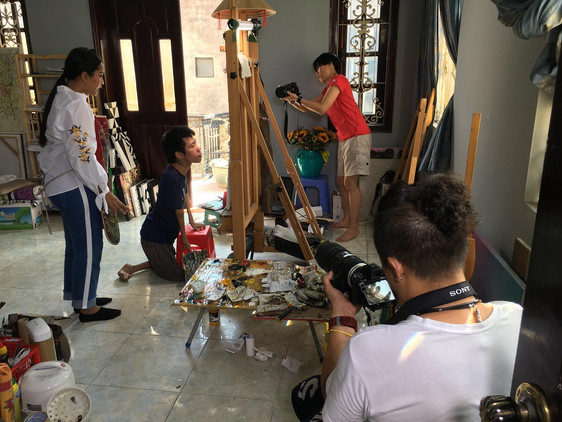 Vietnam Fixer with film crew from Xtreme Media at Le Minh Chau workshop