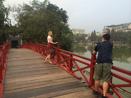 Fixer in Vietnam facilitated the filming at Red Bridge in Hanoi for CNN film crew