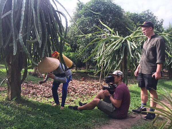 Filming in Vietnam with Luminare Media crew at Ba Cong fruit farm in Can Tho