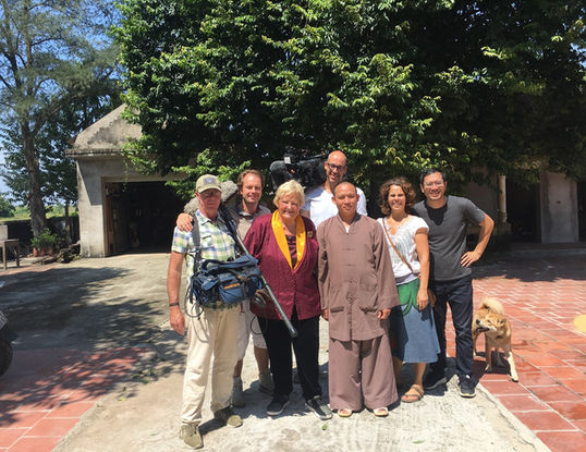 Vietnam fixer - Andy Nguyen, and Media Lane film crew in But Thap pagoda