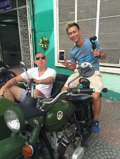 "Fixer in Vietnam team sourced an old sidecar for Freeflow Productions film crew to shoot ""The MeatMen"" series"