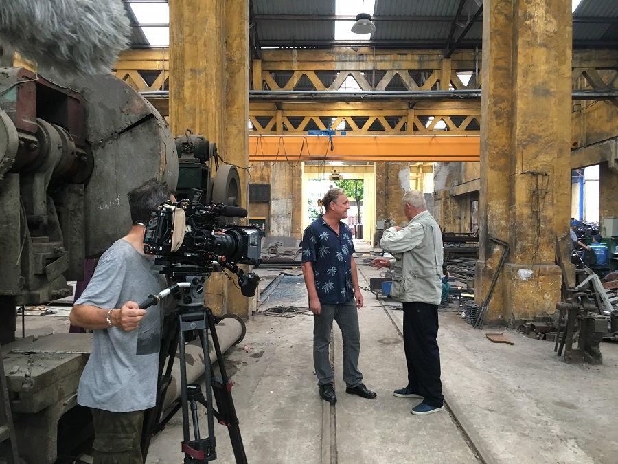 Presenter Chris Tarrant interviewed investor Michael Gebbi about steam locomotive restoration at Di An train depot