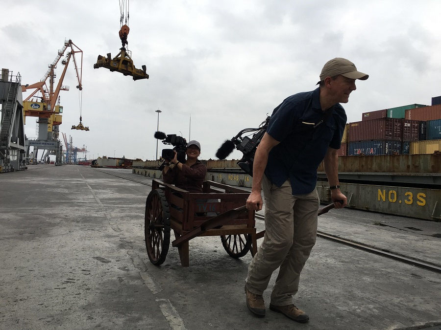 Funny moment of Arcos Films crew at Tan Vu container terminal