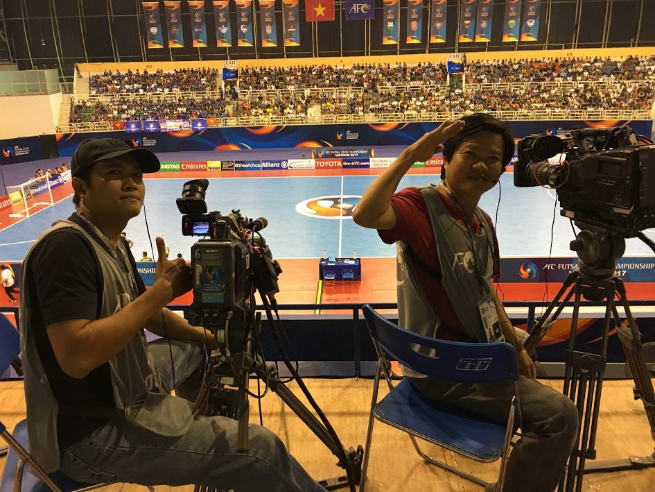 Phang and Tuan - two main camera operators of Filming in Vietnam to produce live 2017 AFC Futsal Club Championship