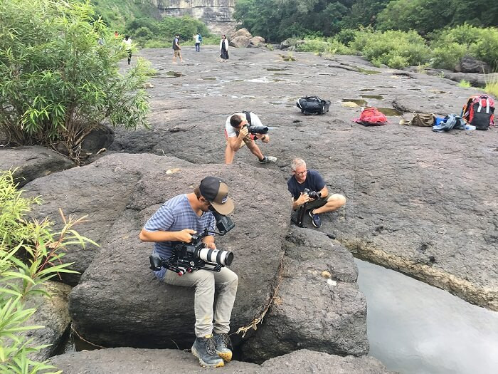 Filming in Vietnam with Eagle Creek film crew at Pongour waterfall, Da lat