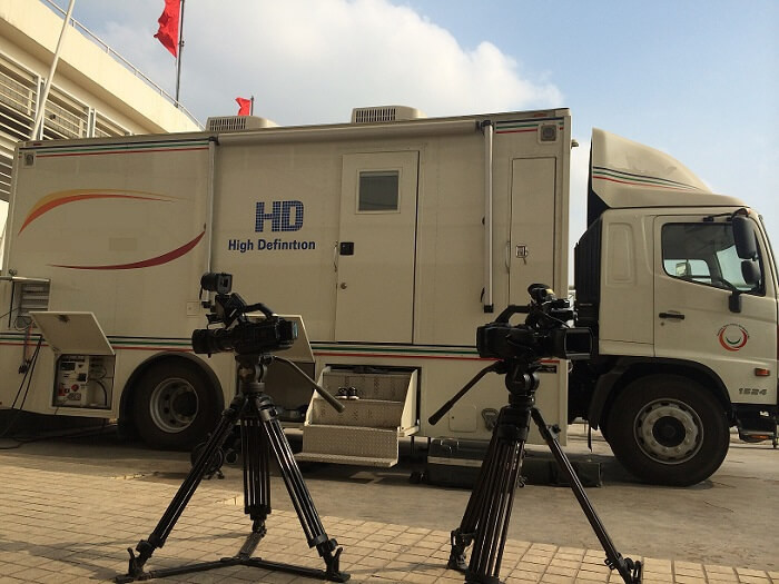 Filming in Vietnam's OB Van at My Dinh National Stadium for live production of AFC Cup football match