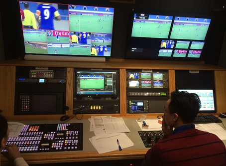 The live production of AFC Cup match in My Dinh National Stadium, Hanoi, Vietnam
