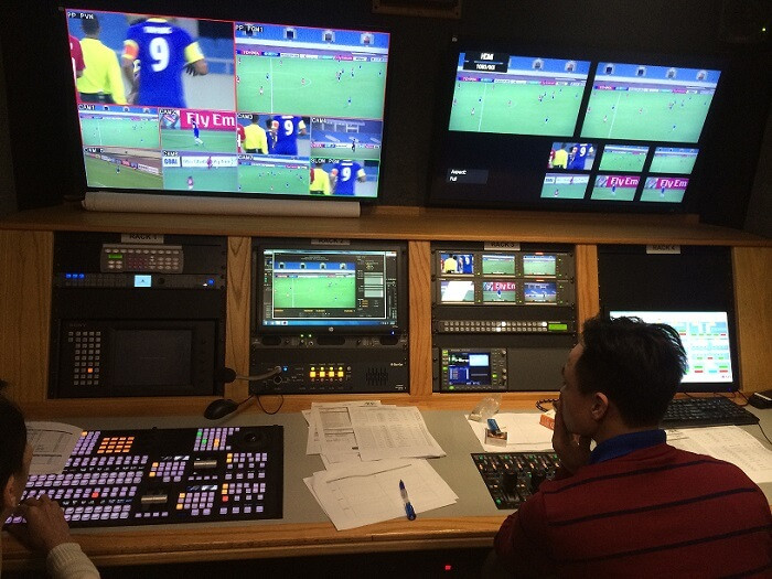 Filming in Vietnam's facility for live production of AFC Cup football match in Vietnam
