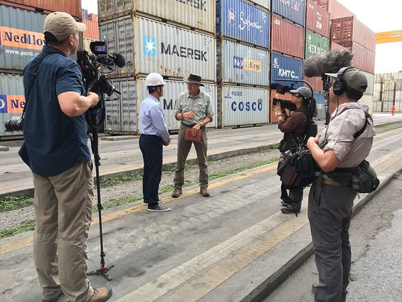 Filming in Vietnam with Arcos Films crew at Tan Vu container terminal