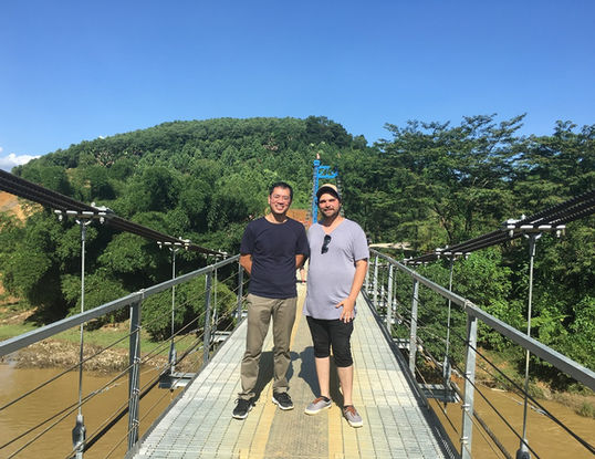 Vietnam fixer - Andy Nguyen and director Matthew Hause at a cinnamon farm in Yen Bai