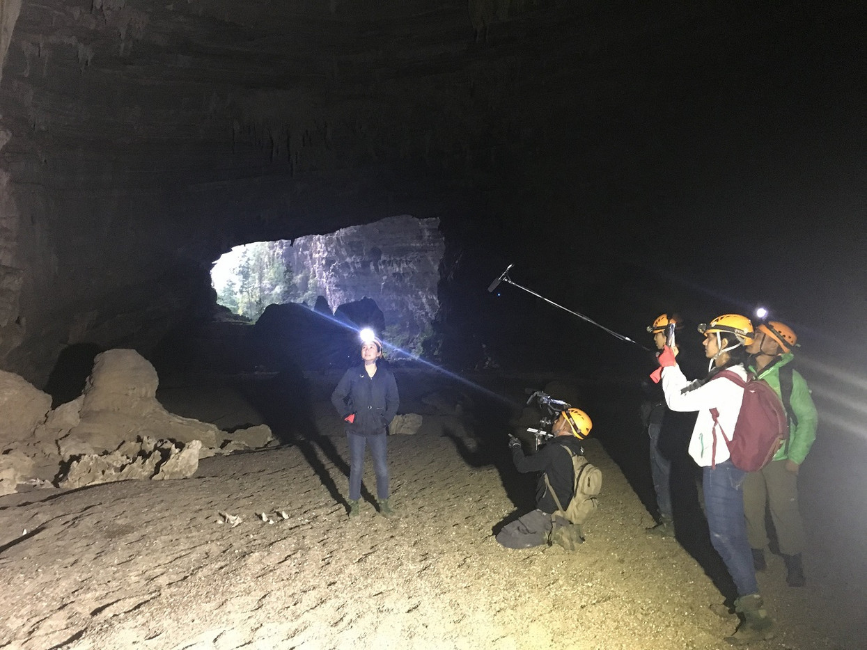 Filming in Vietnam with CNA film crew inside En cave in Phong Nha - Ke Bang