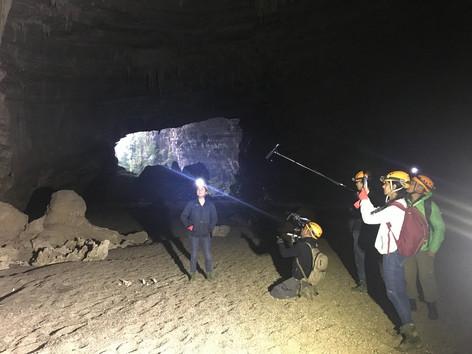 Filming in Vietnam with CNA film crew inside En cave in Phong Nha - Ke Bang