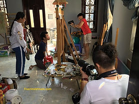 Vietnam fixer team with film crew from Xtreme Media at artist Le Minh Chau workshop