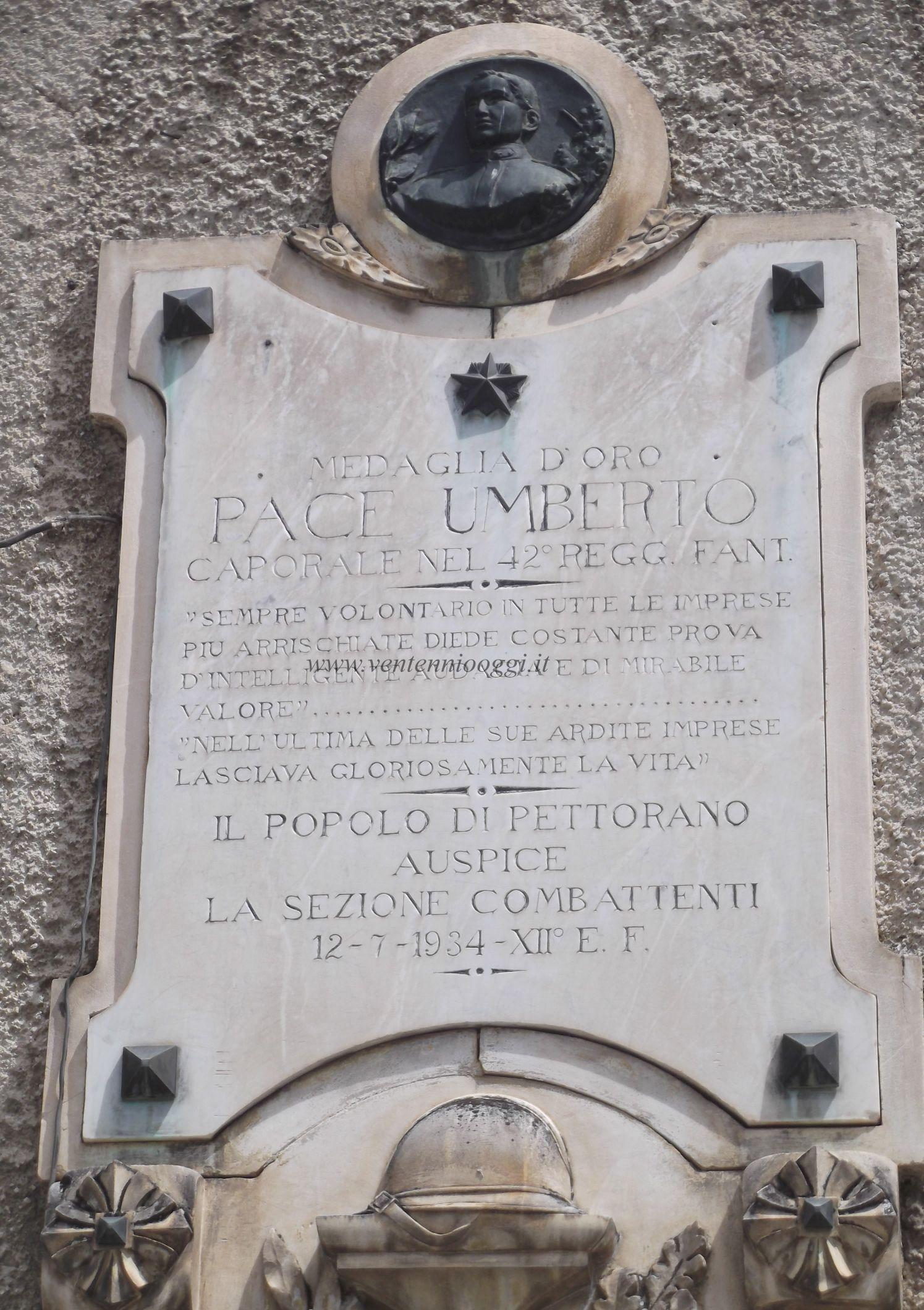 Pettorano Sul Gizio Lapide Pace Umberto 1di2 Apr15 di Gianluca Ciarlariello.JPG