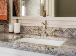 Vanity with Sink, Faucet, Mirror in luxu