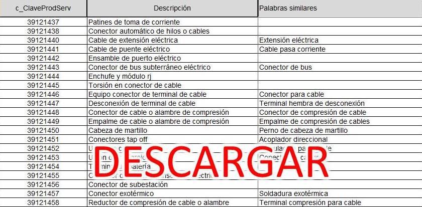 CLAVES DE PRODUCTOS Y SERVICIO PARA MI FACTURA