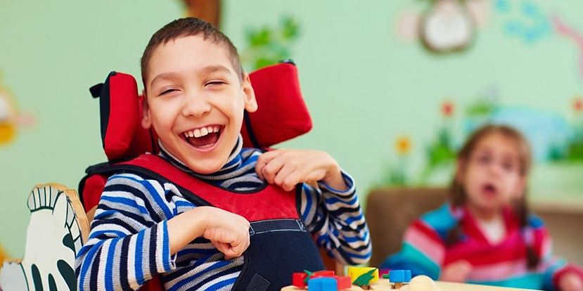 Young boy with cerebral palsy