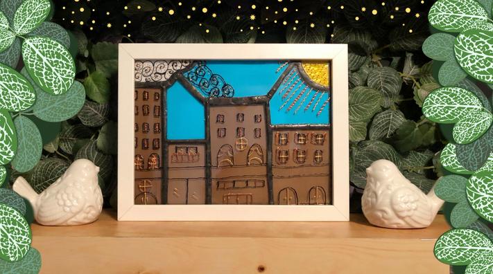 Tableau vitrail et peinture sur verre City