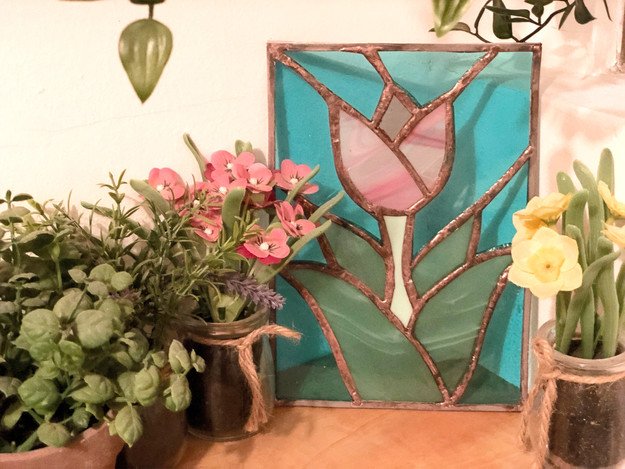 Tableau vitrail tulipe