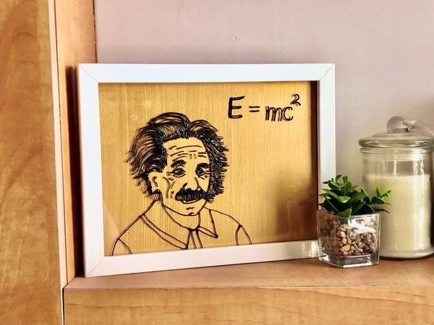 """Peinture sur verre inspiration """"Albert Einstein"""""""
