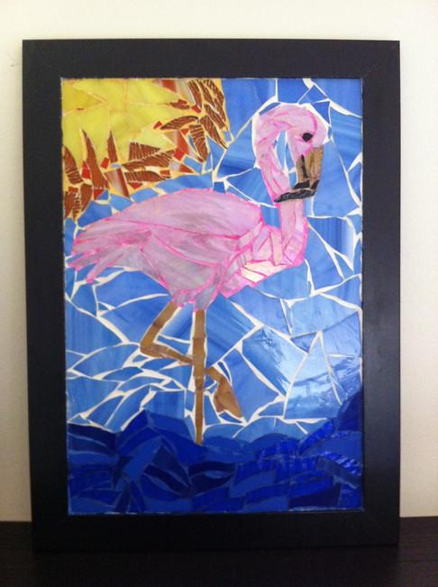 Tableau mosaïque flamant rose