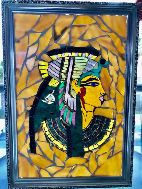 Tableau mosaïque de verre papyrus