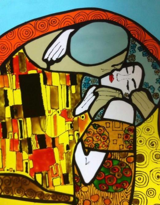 """Vitrail inspiration du célèbre tableau """"Le baiser"""" de Klimt"""