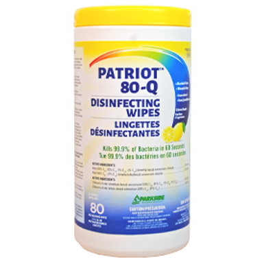 Patriot 80Q Disinfecting Wipes 80 per Cannister x6/Case