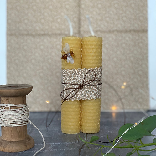 A Pair of Hand-rolled Beeswax Candles