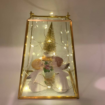 Kissing Angels in Glass Terrarium